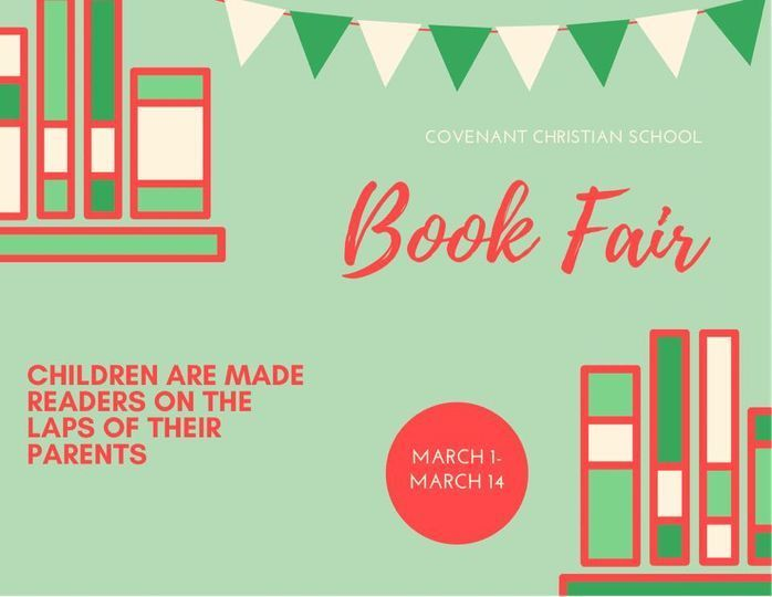 Book Fair. Children are made readers on the laps of their parents. March 1-March 14